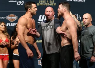Luke Rockhold with Michael Bisping and Dana White