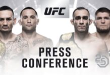 UFC 25th Anniversary press conference featuring khabib nurmagomedov and tony ferguson