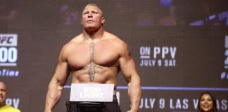 Brock Lesnar weighs in at UFC 200