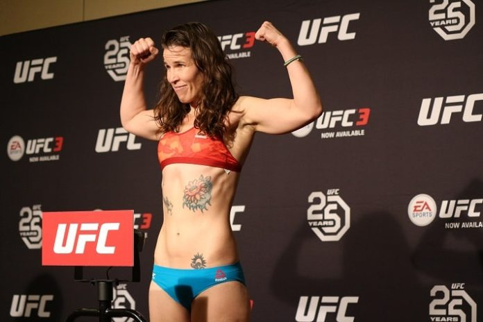 Leslie Smith weighs in at UFC Atlantic City - though ultimately she is not fighting Aspen Ladd
