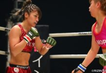 Rena Kubota (left) vs. Kanna Asakura in RIZIN FF
