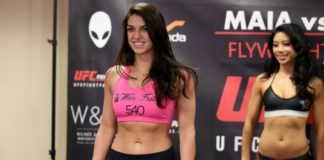 Mackenzie Dern (pictured at Invicta FC 26 weigh-ins) blew weight badly for UFC 224