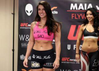 Mackenzie Dern (pictured at Invicta FC 26 weigh-ins) blew weight badly for UFC 224
