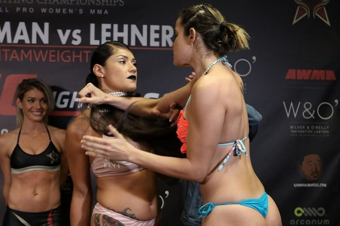 Pearl Gonzalez and Barbara Acioly get heated at the Invicta FC 29 weigh-ins
