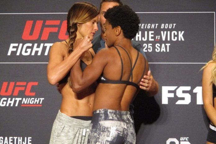 Cortney Casey (left) and Angela Hill, UFC Lincoln