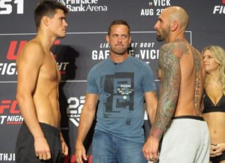 Mickey Gall (left) and George Sullivan facing off ahead of UFC Lincoln