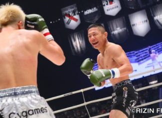 Kyoji Horiguchi (right) against Tenshin Nasukawa