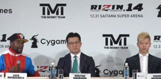 Floyd Mayweather will appear at RIZIN 14 against Tenshin