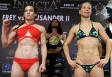 Jinh Yu Frey and Minna Grusander, Invicta FC 33 weigh-in