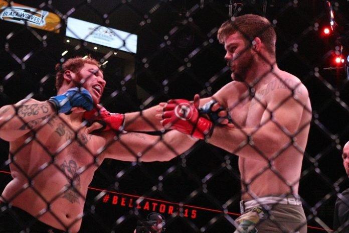 Steve Mowry (right) Bellator MMA