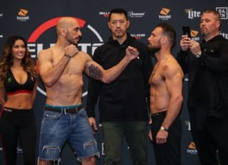 Saad Awad (left) and Brandon Girtz, Bellator 219 face-off