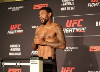 Michael Johnson looked to be in a celebratory mood after making weight at the UFC Philadelphia (UFC on ESPN 2) official weigh-in