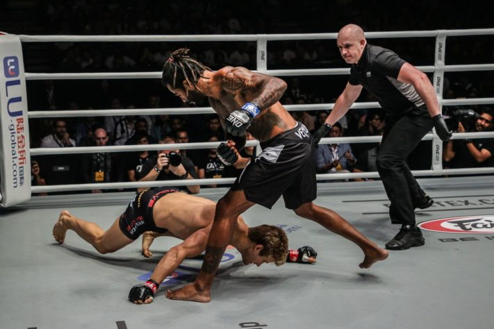 Sage Northcutt falls face down after being knocked out by Cosmo Alexandre at ONE Championship: Enter the Dragon