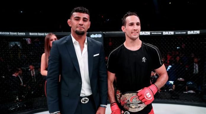 Rory MacDonald vs. Neiman Gracie in the cage at Bellator 222