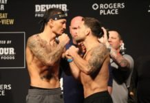 Max Holloway and Frankie Edgar, UFC 240 Weigh-In