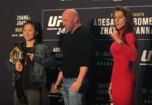Weili Zhang, Dana White, and Joanna Jedrzejczyk