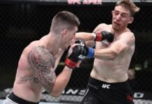Brendan Allen punches Kyle Daukaus at UFC on ESPN 12