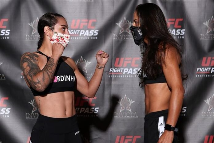 Emily Ducote and Juliana Lima, Invicta FC 40 weigh-in