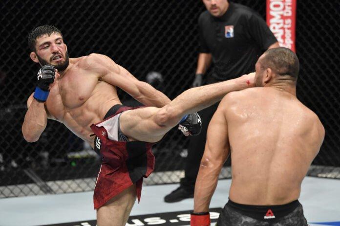 Arman Tsarukyan of Armenia kicks Davi Ramos, UFC Fight Island 2