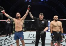 Paul Craig (left) has his hand raised at UFC Fight Island 3