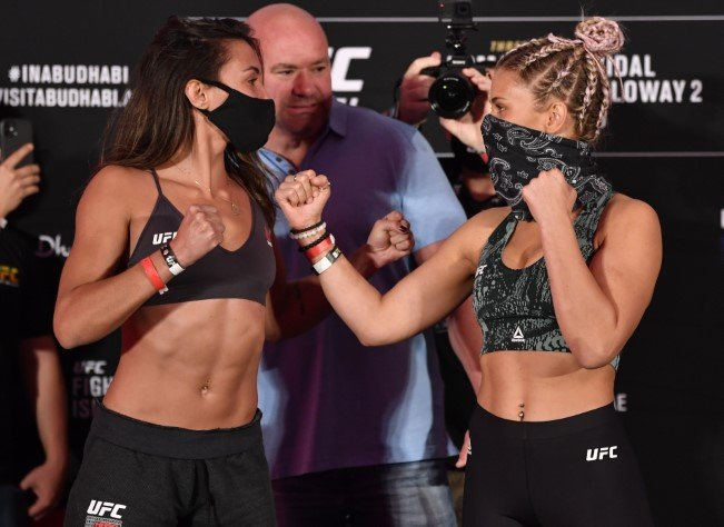 Amanda Ribas of Brazil and Paige VanZant face off during the UFC 251