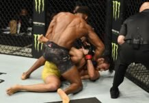 Lerone Murphy of England punches Ricardo Ramos, UFC Fight Island 1