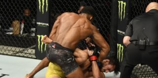 Lerone Murphy of England punches Ricardo Ramos, UFC Fight Island 1