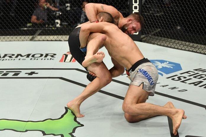 Khamzat Chimaev takes down John Phillips at UFC Fight Island 1