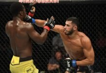 Mounir Lazzez lands a punch on Abdul Razak Alhassan at UFC Fight Island 1
