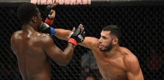 Mounir Lazzez lands a punch on Abdul Razak Alhassan at UFC Fight Island 1