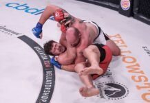 Tim Johnson controls Matt Mitrione at Bellator 243