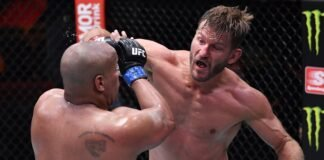 Stipe Miocic punches Daniel Cormier during the UFC 252 main event