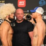 Khabib Nurmagomedov and Justin Gaethje face off following the UFC 254 weigh-in