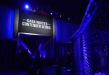 Dana White's Contender Series (DWCS) logo, on screen, UFC Apex