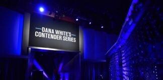 Dana White's Contender Series (DWCS) logo, on screen, UFC Apex