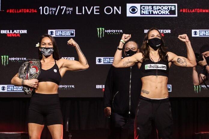 Ilima-Lei Macfarlane and Juliana Velasquez Bellator 254 weigh-in