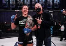 Juliana Velasquez and Scott Coker following Bellator 254