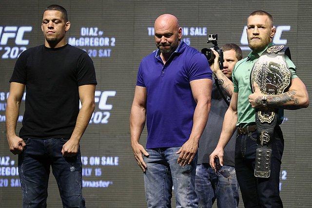 Nate Diaz, Dana White, and Conor McGregor