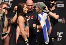 Jessica Eye and Joanne Calderwood, UFC 257 weigh-in