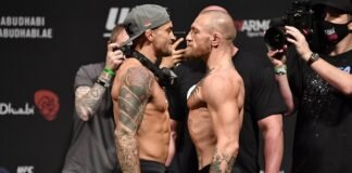 Dustin Poirier and Conor McGregor, UFC 257 weigh-in