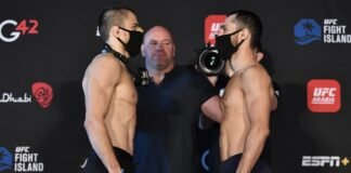 UFC Fight Island 8 Umar Nurmagomedov and Sergey Morozov