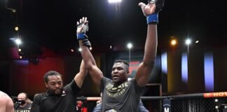 Francis Ngannou following his defeat of Stipe Miocic at UFC 260