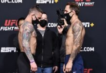 Gregor Gillespie and Brad Riddell, UFC Vegas 22 face-off