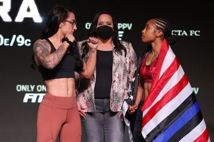 Emily Ducote and Danielle Taylor, Invicta FC 44 weigh-in